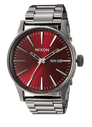 Nixon Reloj de hombre disponible en 7 colores, Nixon Sentry Ss Silver analógico de cuarzo esfera burdeos