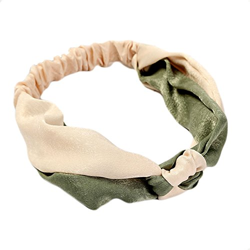 JSEA Damen Kontrastfarbe Haarbänder Chinesisch Knoten Dehnbar Stirnbänder Mädchen Elastischer Haarschmuck (#5 Beige Grün)