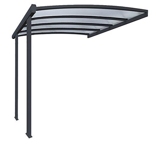 Priximbattable Pergola en Aluminium cintrée adossée toiture en Polycarbonate 16 mm avec gouttière 4x3,5m Grise