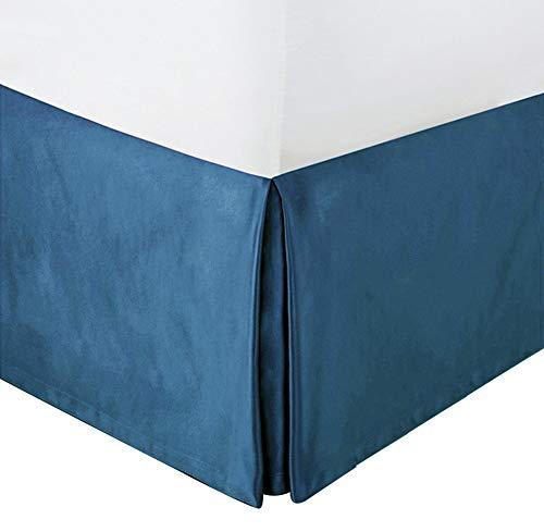 MUZIDP Samtrock Bett,Volltonfarbe Elastische Staub Einfach passen Lichtbeständige Falten ausgestattet Volant Für Hotel-D 180x200cm(71x79inch)