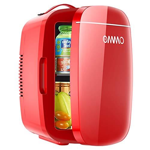 Mini Frigo da Camera 6 litri / 8 lattine, OMMO Frigo Portatile Elettrico con Funzione Caldo Freddo per bevande, cibo, bellezza, Minifrigo cosmetico 12V/220V per Auto Camper Casa Ufficio (Red)
