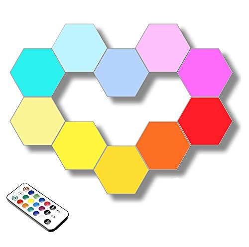 Luz de pared hexagonal, paquete de 10 luces de pared hexagonales con control remoto, luces modulares sensibles al tacto Ensamblaje de geometría creativa Luz de noche LED adecuada para habitaciones