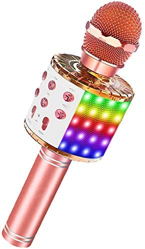 Bluetooth Karaoke Microphone with LED Lights Portable Karaoke with Speaker for Kids Adults Handheld product image