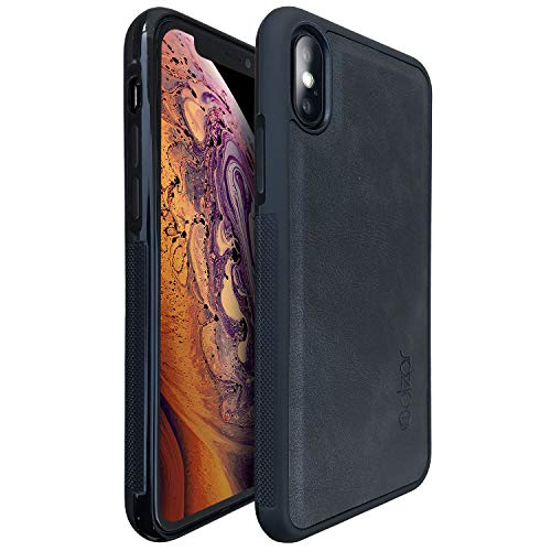 Molzar Grip Series iPhone Xs/X Case with TPU and PU Leather, Built-in Metal Plate for Magnetic Car Phone Holder, Support Qi Wireless Charging, Compatible with Apple iPhone Xs/X, Black/Black