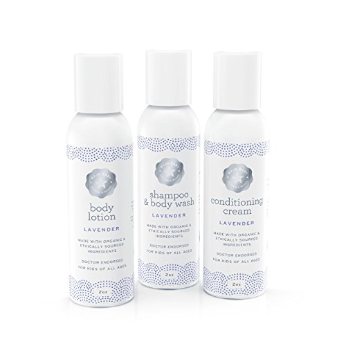 Baja Baby Organic Lavender Travel Set - 2 Ounce Shampoo, Conditioner & Body Lotion - EWG Verified - No Sulfates, Parabens or Phosphates - The Perfect Travel Set For Kids