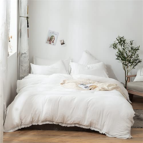 Nayoroom White Tassel Duvet Cover Queen Size Boho Bedding Fringe Lace Farmhouse Duvet Covers Soft Washed Microfiber Fringed Comforter Cover with Zipper Closure Corner Ties