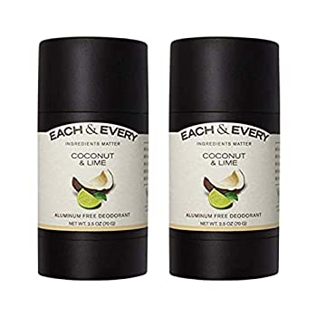 Each & Every 2-Pack Natural Aluminum-Free Deodorant for Sensitive Skin with Essential Oils Plant-Based Packaging Coconut & Lime 2.5 Oz.