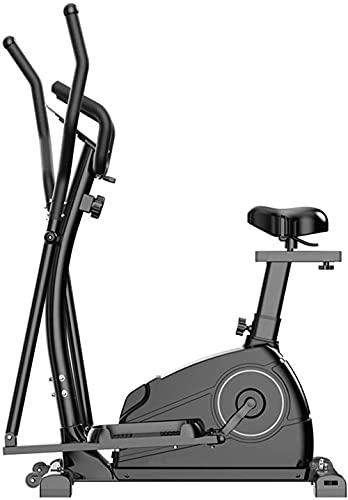 Bicicleta elíptica Control magnético Elíptico Fitness Cruz Entrenador 3 en 1 Máquina elíptica Ejercicio Bicicletas Espacio Máquina Caminando con Equipo de Gimnasio.-Negro