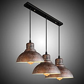 NIUYAO Industrial Pendant Light Adjustable Retro Linear Island Pendant Lighting Vintage Rustic 3 Lights with Dome Metal Shade for Bars Kitchen Dining Room Farmhouse 427730