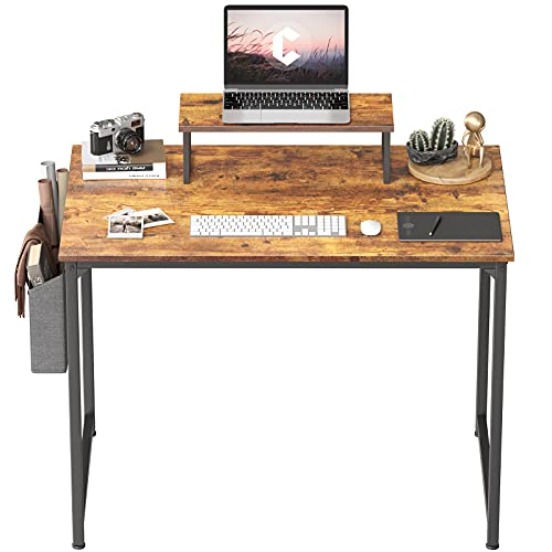 Cubiker Small Computer Desk 32 Inch Home Office Writing Desk Rustic Brown