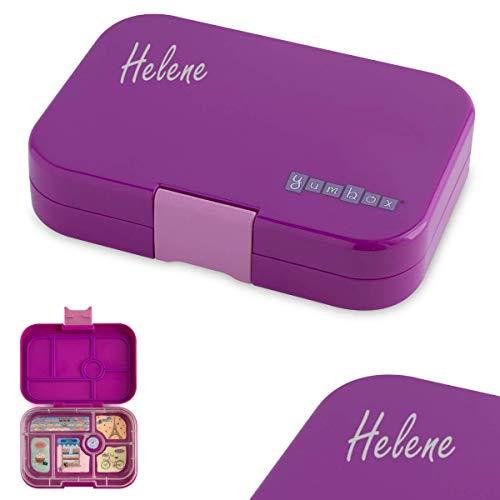 Anton & Sophie YUMBOX Original (mit 6 Fächern) - PERSONALISIERBAR - Brotbox/Lunchbox mit Fester Fächer-Unterteilung - auslaufsichere Brotdose für Schule - ideal zur Einschulung (Bijoux Purple)
