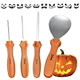 Halloween Pumpkin Carving Kit, G-TING 4 Piece Sturdy Stainless Steel Tool with 10 Pcs Pumpkin...