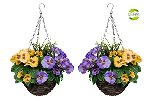 GreenBrokers 2X Artificial Hanging Purple & Yellow Pansies and Decorative Grasses (Set of 2), Rattan...