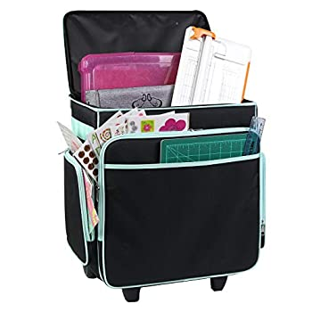 Everything Mary Rolling Craft Bag Black & Teal - Papercraft Tote with Wheels for Scrapbook & Art Storage - Organizer Case for IRIS Boxes Supplies and Accessories
