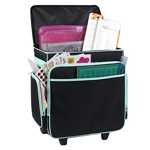 Everything Mary Rolling Craft Bag, Black & Teal - Papercraft Tote with Wheels for Scrapbook & Art Storage - Organizer Case for IRIS Boxes, Supplies, and Accessories