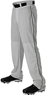Alleson Ahtletic Boys Youth Baseball Pants with Braid, Grey/Dark Green, Medium