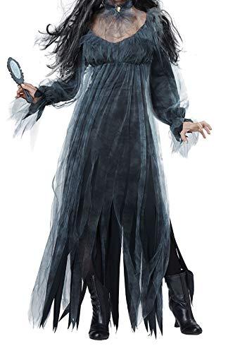 Kenebo Damen Kostüm Cosplay für Halloween Vampire Devil Dead Corpse Zombie Bride Dress Schwarz, Schwarz L