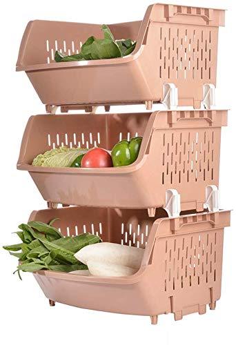 Solidi 3 strati di ispessito grande creativo multifunzionale frutta mobilia e cesti vegetali, storage cucina giocattolo di modo scaffalatura cibo cesto di plastica, dimensioni (44.5 * 36 * 73 centimet