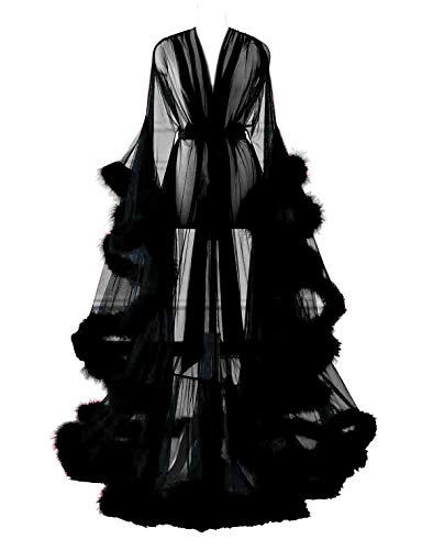 Changuan Sexy Feather Bridal Robe Tulle Illusion Long Wedding Scarf New Custom Made Black L/XL