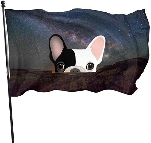 maichengxuan Garden Flag Sign Outdoor Party Indoor Banner 3x5 FT French Bulldog Half Face Banner Flag for Inside/Outside