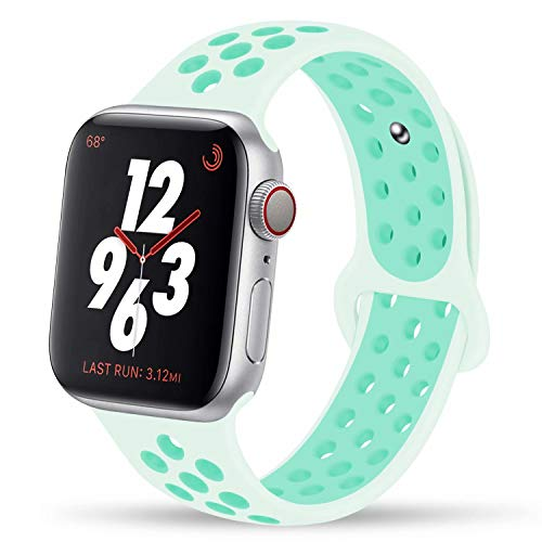 YC YANCH Greatou Compatible for Apple Watch Band 38mm 40mm,Silicone Sport Band Replacement Wristband Compatible for iWatch Apple Watch Series 5/4/3/2/1,Nike+,Sport,Edition,S/M,Teal Tint Tropical Twist