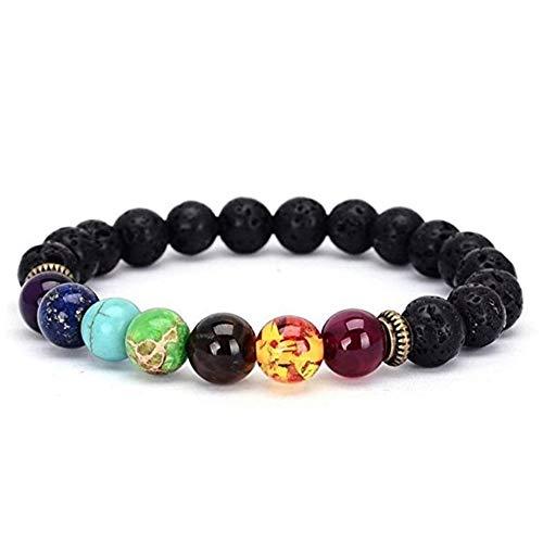 ARMRA 7 Chakras Diffuser Bracelet Lava Stone 8mm Yoga Beads Essential Oils Bracelet with Transparent Dropper
