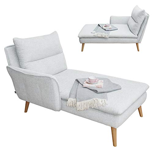 place to be. Recamiere Ottomane Chaiselongue Relaxliege mit Armlehne Links Eiche massiv Weiss P9206 mit Fleckschutz