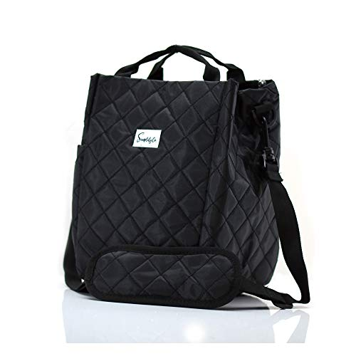 Simplily Co Insulated Lunch Bag with Shoulder Strap and Drink Side Pocket Black 9 inches tall