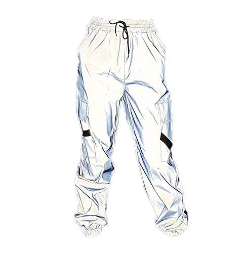 Pantalones de cordón Reflectantes para Mujer Hip Hop Club Outfit Chándal Joggers Traje Holgado