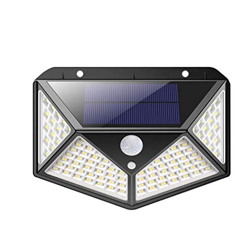 Mediawave Store – Luz solar LED, lámpara de carga solar exterior, sensor de movimiento, 100 LED, ángulo de luz de 270°, luces exteriores, 3 modos de lámpara solar, impermeable, jardín (1 unidad)