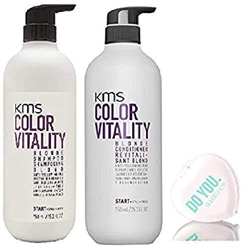 Color Vitality BLONDE Shampoo & Conditioner, Anti-Yellow DUO Set, Purple/Violet Formula (includes a Sleek Compact Travel Mirror) Haircolor (BLONDE - 25.3 oz + 25.3 oz LARGE PUMP KIT)