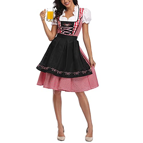 PDYLZWZY Disfraz de Oktoberfest para mujer, vestido tradicional bávaro, 3 piezas, Negro , 26 W/32 L