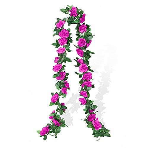 Cotemdery Guirnalda de rosas artificiales de seda para colgar en el hogar, boda, 2 unidades, 4,5 m, color morado