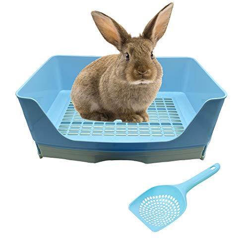 Tfwadmx Large Rabbit Litter Box, Bigger Pet Litter Pan with Drawer Corner Toilet Box Rabbit Poop Scoop for Adult Guinea Pigs Chinchilla Ferret Galesaur Small Animals