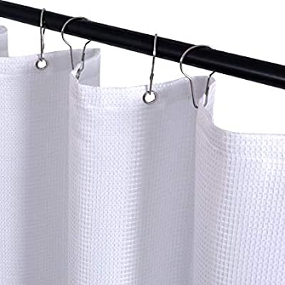 JINCHAN Shower Curtain for Bathroom Water-Repellent Square Textured Fabric Shower Curtain with 12 Metal Grommets Top in Bath 70W x 72L inches, Taupe, 1 Panel
