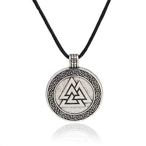 YioKpro Anzuelo Vikingo símbolo de Odin del Hombre nórdico Collar Valknut Guerrero Amuleto escandinavo joyería étnica Colgante de Acero Inoxidable