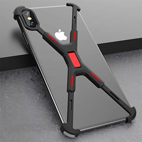 BANAZ Teléfono Capítulo De Caso A Prueba De Golpes Bare Metal Protectora For El iPhone XS MAX St (Color : Black Red)