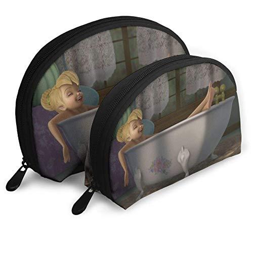 Anime Cartoon Tinker Bell Cosmetic Bags Portable Bag Clutch Pouch Set Women Men Travel Purse with Zipper Handbag Organizer 2Pcs