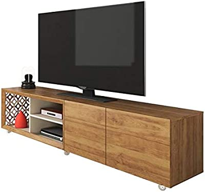HomeRoots Light Wood Tone/Off White MDF Mid Century TV Stand/Laser Mosaic Details Farmhouse TV Stand