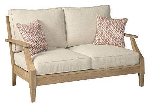 Signature Design by Ashley - Clare View Outdoor Loveseat with Cushion - Eucalyptus Frame - Beige