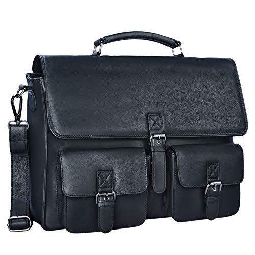 STILORD \'Victor\' Vintage Aktentasche Herren Leder Moderne Businesstasche für große A4 Aktenordner XL Umhängetasche 15.6 Zoll mit Dreifachtrenner aus echtem Leder, Farbe:schwarz
