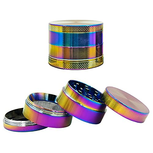 HMP Canada – Rainbow Edition, Four Piece Alloy Herb Grinder 1.6'' – Size 1 of 2, Magnetic Lid, Grinding Compartment…