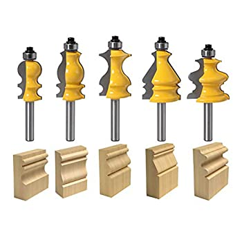 TAIWAIN Router Bit Set 1/4 Inch Shank 5PCS Architectural Picture Frame Molding Bits Wood Milling Cutter Router Woodworking Miter Carbide CNC Cutting Tool for Doors Tables F-line