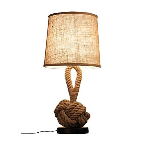 VOAOV Kreative Tischleuchte, Stoff Schreibtischlampe E27 Vintage Nachttischlampe, Landhausstil Tischlampe, Leinen Lampenschirm, Hanfseil Dekoration, Warmes Licht, für Wohnzimmer, Schlafzimmer, Büro