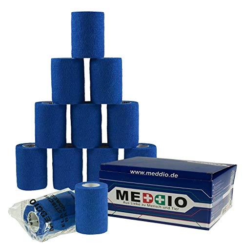 12 Haftbandagen/Selbsthaftende Bandagen 7,5 cm x 4,5 m blau