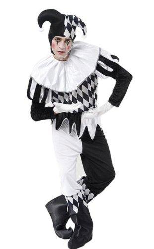Arlequin Bouffon Noir Et Blanc Homme Costume Déguisement