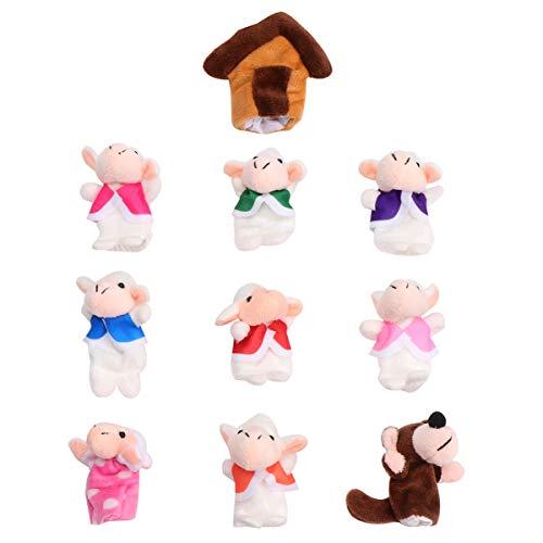 STOBOK Plüsch Fingerpuppen Set Mini Schaf Wolf Stuffers Puppen Verschiedene Tier Handpuppen Storytelling Requisiten Interaktive Lernspielzeug Kinder Geschenk