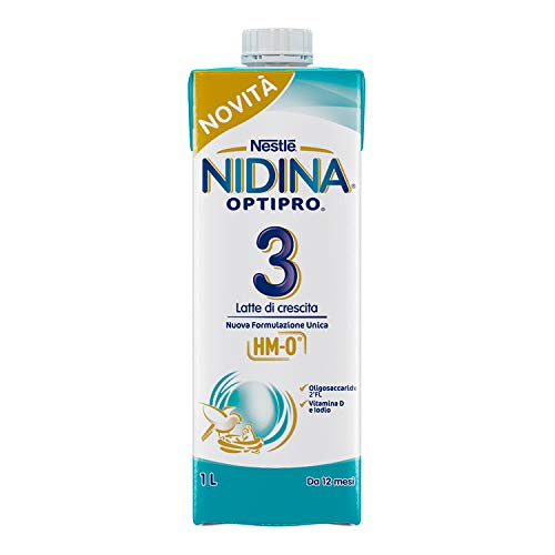 Nestlé Nidina 3, Latte liquido per la crescita, Da 12 mesi, Confezione da 8 x 1 L