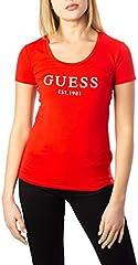 Guess Camiseta Cuello Redondo Mujer Naranja Roja