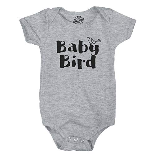 Crazy Dog Tshirts - Baby Bird Funny Infant Shirts Cute Baby Creeper Family Adorable Infant Bodysuit (Heather Grey) - 12 Months - Baby-Enfant